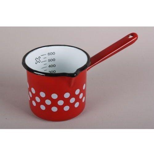 Hungarian Retro Red w White Polka Dot Enamelware Spout Coffee Pot Milk Saucepan
