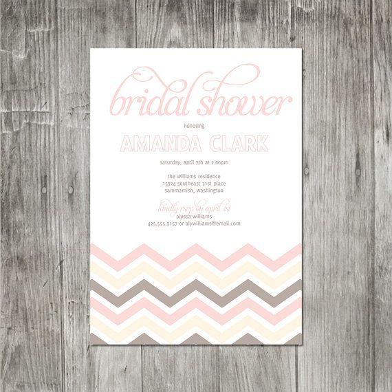 Chevron Bridal Shower Invitation by pinklilypress on Etsy