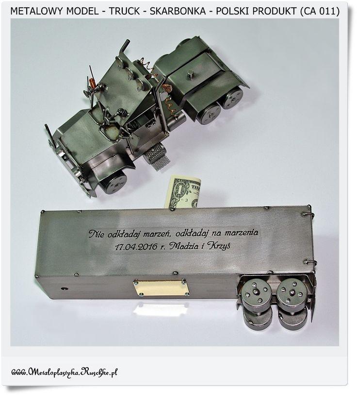 TRUCK Duży metalowy model Skarbonka + Wygrawerowana dedykacja