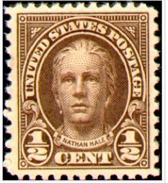 Nathan Hale stamp issued 1925 and 1929. Image from Bela Lyon Prat statue