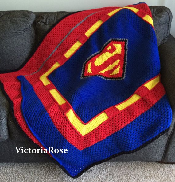 Crochet Superman Blanket Pattern Only by VictoriaRoseShop on Etsy, $6.00