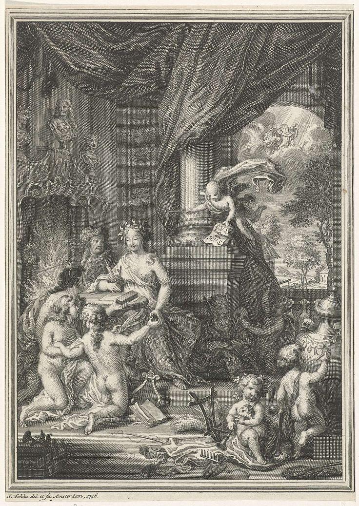 Simon Fokke | Allegorie op de Schrijfkunst, Simon Fokke, 1746 | De personificatie van de Schrijfkunst zit met een veer in de hand aan een tafel waarbij drie geknielde naakte vrouwen haar schrijfgerei aanreiken. Een engeltje in de lucht houdt een papier vast met de tekst: L.V.L. Antwort an H.V.L. Rechts van de Schrijfkunst spelen putti, achter de Schrijfkunst zit een man in eigentijdse kleding met een pijp bij de openhaard.