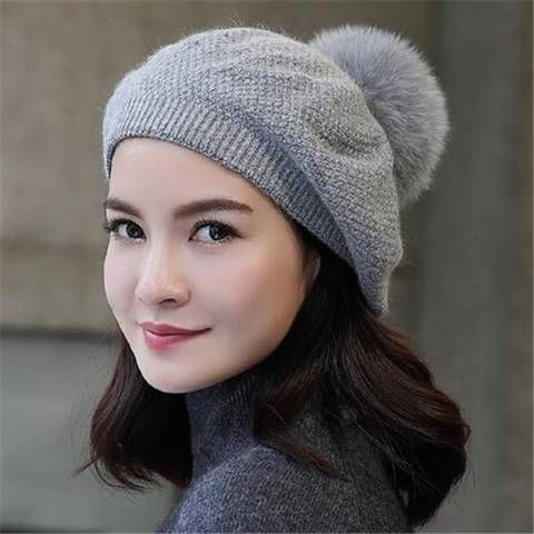 Women Winter Hat for Girl Knitted Beret Hat with Rabbit Pom Pom Beanie Cap