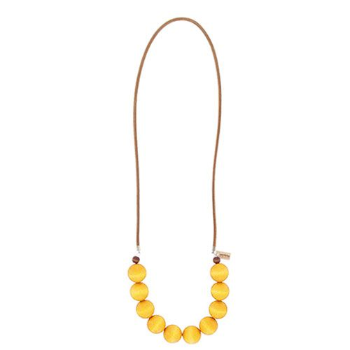Simple yet striking, this accessory screams spring and summer with ten little balls of sunshine. Aarikka Rento Yellow Necklace - $41