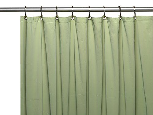 Park Avenue Deluxe Collection Park Avenue Deluxe Collection Premium 4 Gauge Vinyl Shower Curtain Liner w/ Weighted Magnets and Metal Grommets in Sage