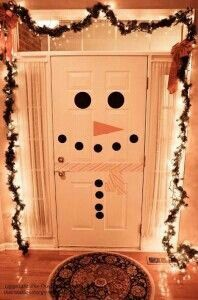 Cute christmas door decorations! Maybe I could do a manger scene on a door too!