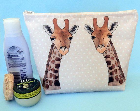 Giraffe wash bag  animal print makeup bag  giraffe lover