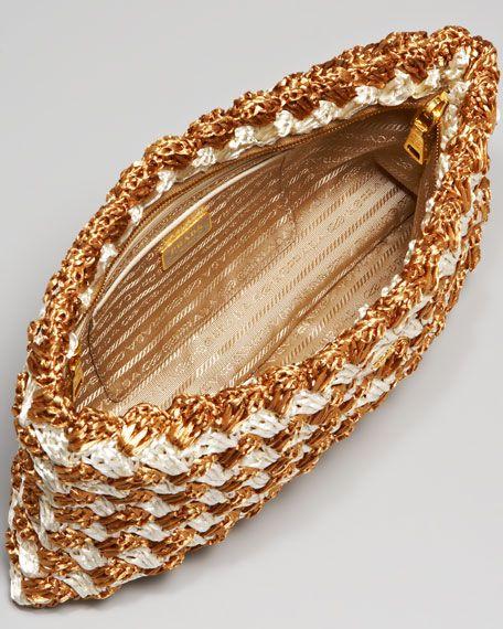 865f4eef59 Prada Raffia Zip Clutch | weena | Crochet handbags, Crochet purse ...