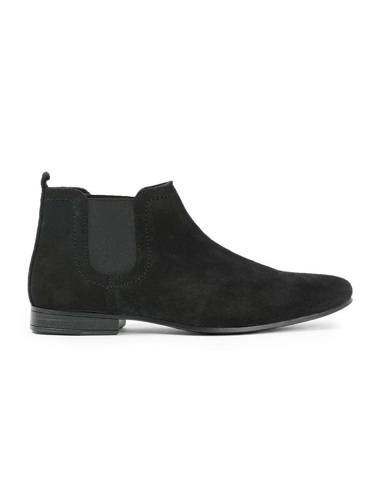 Black Waxy Suede Chelsea Boots - Men's Casual Shoes - Shoes and Accessories - TOPMAN