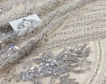 Graue 3D wulstige Spitzenstoff, Luxus handgemachte Perlen von 3D Blumen, französische Spitze, Spitze, K00494 Abend