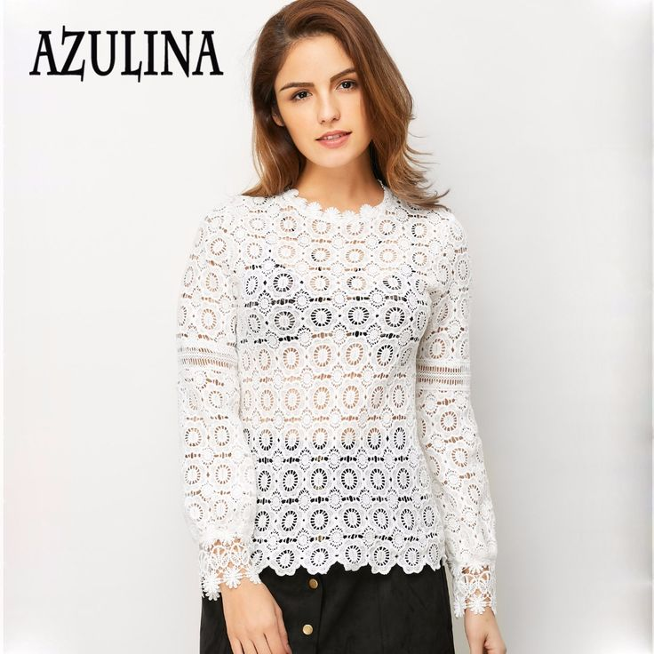 Find More Blouses & Shirts Information about AZULINA Elegant floral lace blouse shirt Women lantern Long sleeve white blouse Autumn Spring hollow out short top Casual blusas,High Quality blouse white,China blouse tshirt Suppliers, Cheap blouse button from AZULINA Store on Aliexpress.com