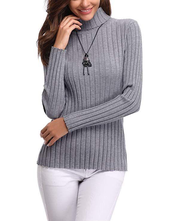 Abollria Women s Long Sleeve Solid Lightweight Soft Knit Mock Turtleneck  Sweater Tops Pullover d4c3ec175