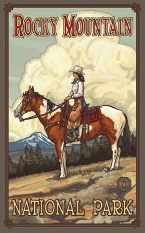 www.theparksco.com:   SUMMER COWGIRL ROCKY MOUNTAINS POSTER - 11 x 17