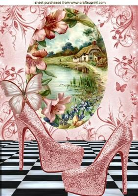 PRETTY COTTAGE SCENE WITH LAKE SHOES A4 on Craftsuprint - Add To Basket!