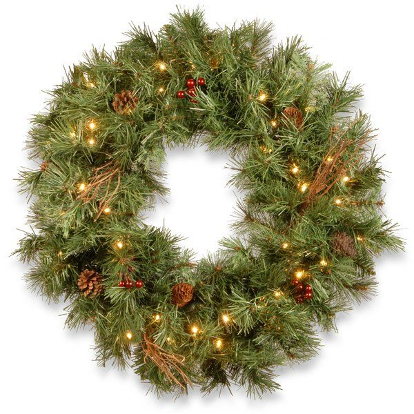 Glistening Lighted Pine Wreath Artificial Christmas Wreaths Pre Lit Wreath Christmas Wreaths