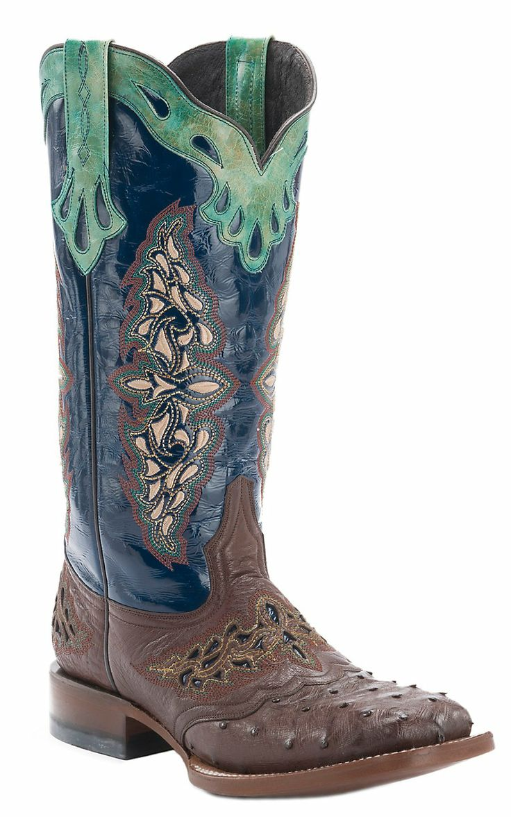 Ladies Full Quill Ostrich Sq Boots 9 Nvy