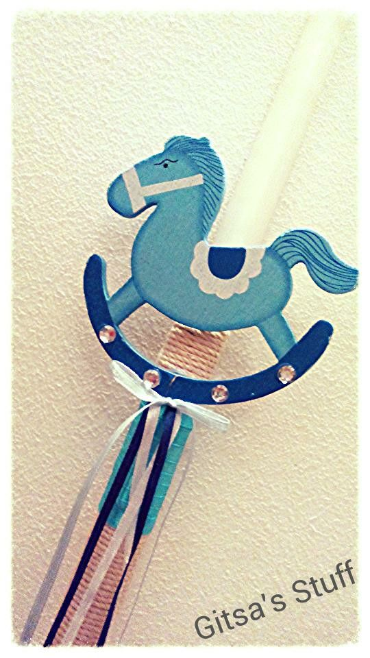 Easter Candle.. Handmade.. Little Horse.. Rope.. Blue..