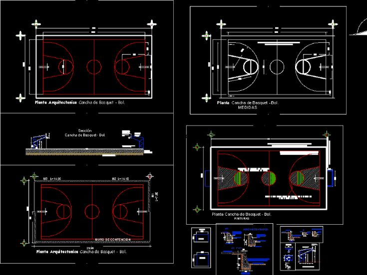 Basketball court (dwgAutocad drawing)