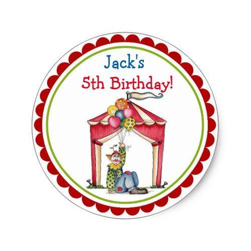 Circus Carnival Clown Birthday Party Favor Sticker