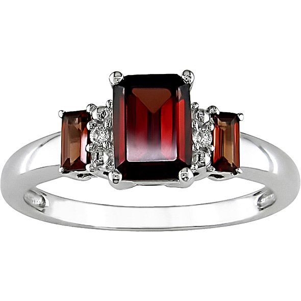 White Gold Garnet Diamond Accent Ring