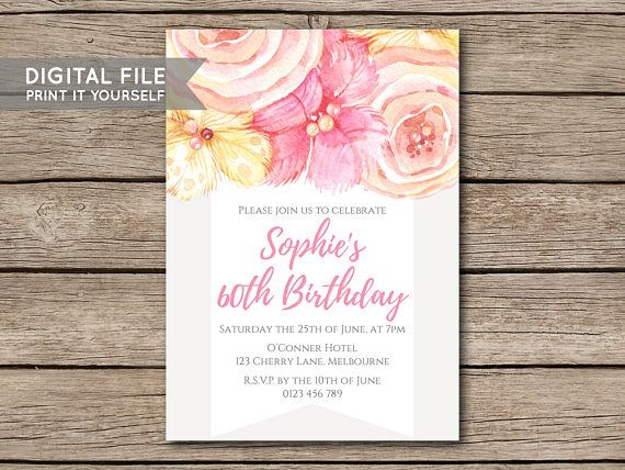 DIY Flower Watercolour Floral Birthday Party Invitation