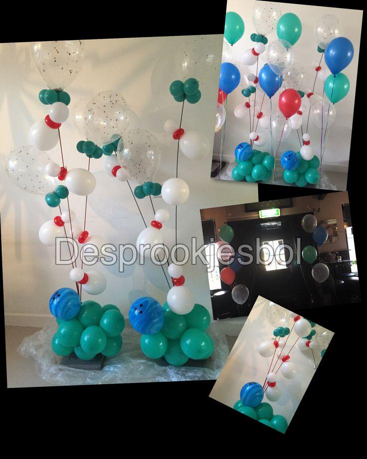 """Je zal maar van Bowlen houden! En je geeft een feestje omdat je met pensioen gaat! Daar moet een ballonnen decoratie bij@ bij  #Thuus made bij """"de sprookjesbol"""""""