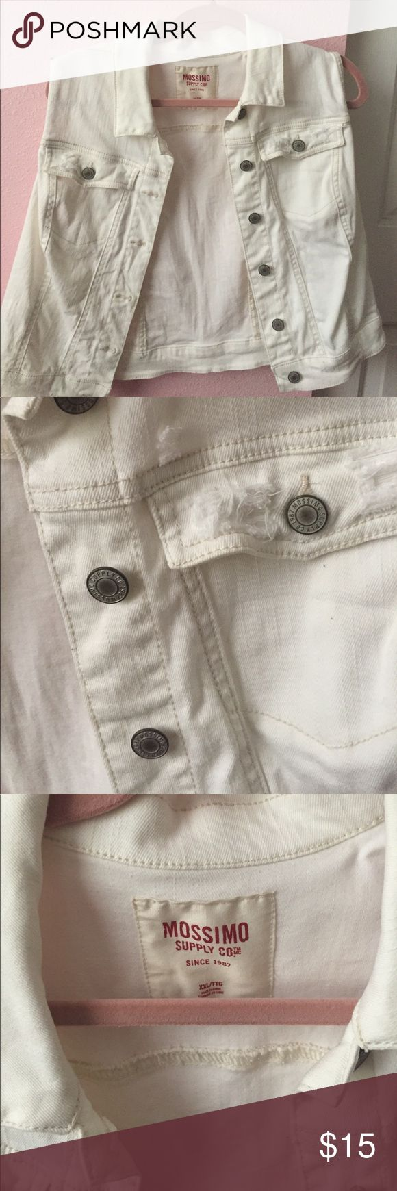 White Jean Vest This is a staple piece in any wardrobe! Goes with any outfit! Great quality material! Worn only a few times! Mossimo Supply Co. Jackets & Coats Vests