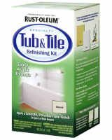 Rustoleum Tub and Tile Refinishing Kit. Acts and looks like porcelain and ceramic. Apply to ceramic, porcelain or fiberglass. Fast drying,   durable, corrosion resistant. You can order it right here - it's only $25.97 for the kit!