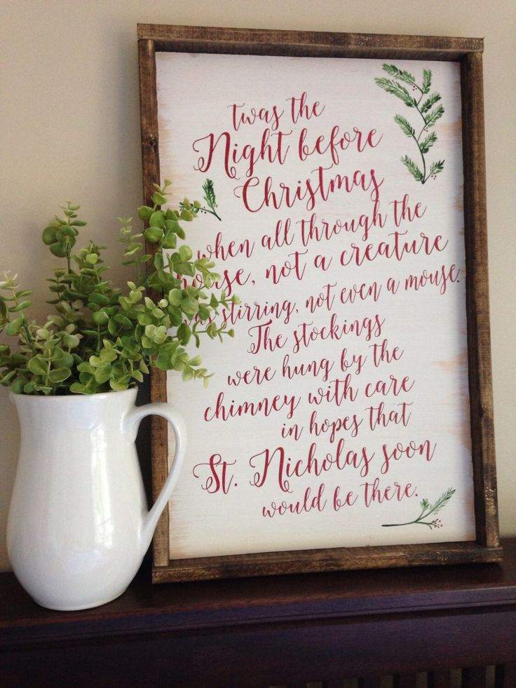 Night Before Christmas Sign - Christmas Sign - Twas The Night Before Christmas Sign - Wood Christmas Sign - Farmhouse Christmas Sign by ThisHandPaintedHome on Etsy https://www.etsy.com/listing/465113716/night-before-christmas-sign-christmas