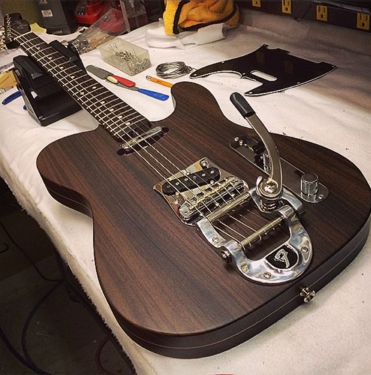 """officialfender: """"In awe over this #fendercustomshop Rosewood Telecaster + Bigsby tremolo built by Master Builder Darrel Wilson. What would be your dream custom Fender? """""""