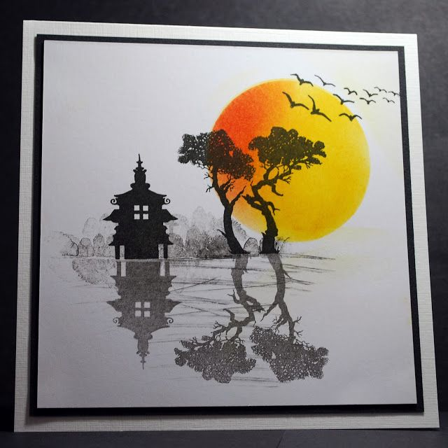 hand crafted card from Eileen's Crafty Zone: Lavinia Stamps - 'Reflection' Card ! ... Asian sunset scene ... shades of grat with a brightly spoed sun ...