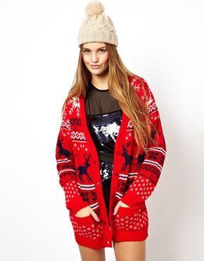 Image 1 ofASOS Christmas Cardigan With Reindeer Design