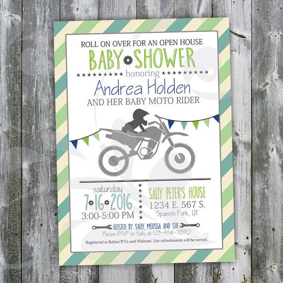 """Motocross Baby Shower Open House Invitation-Custom 5""""x7"""" Invite with Blues & Greens, Dirt Bike, Triangle Banner, Stars and Gears (digital) by Corinnerelly"""
