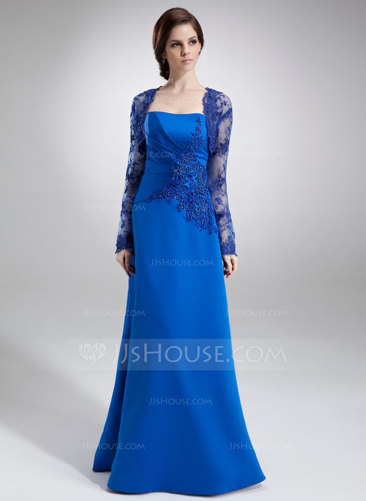 A-Line/Princess Strapless Floor-Length Ruffle Lace Beading Zipper Up Strapless Sleeveless Yes Royal Blue Fall Winter General Plus Satin Mother of the Bride Dress