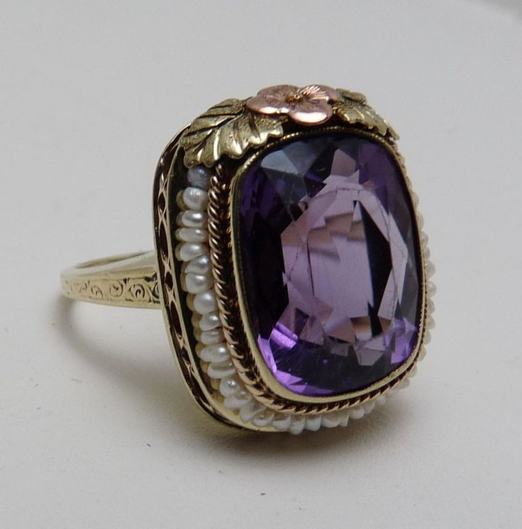 Antique Art Deco 1918 14k Gold Seed Pearl Amethyst