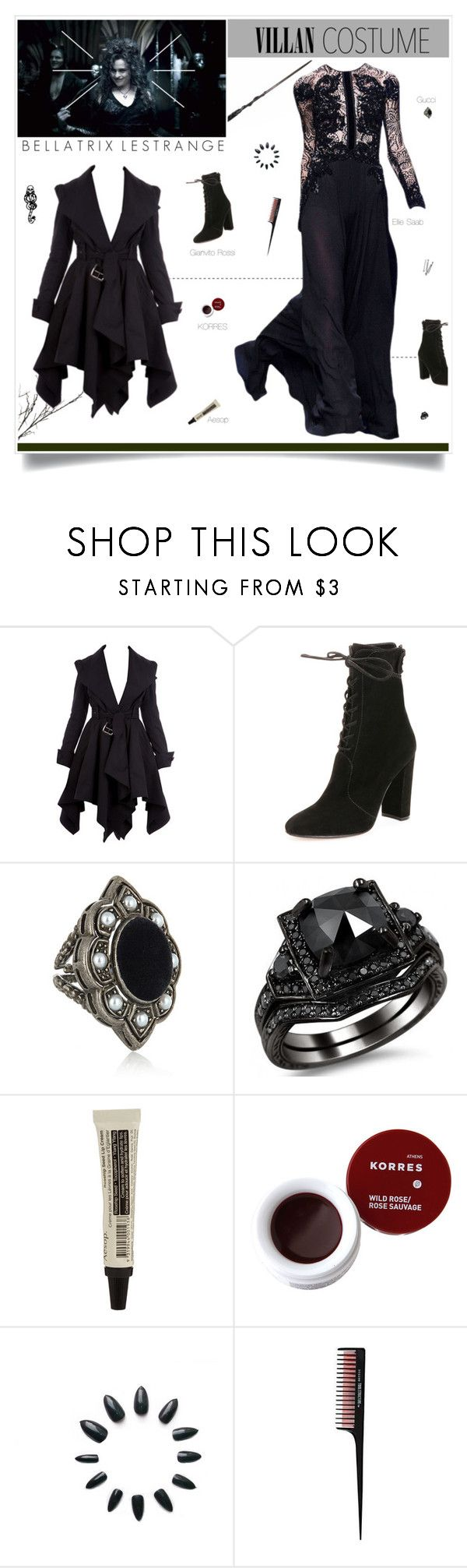"""Bellatrix Lestrange Costume"" by amberelb ❤ liked on Polyvore featuring Gianvito Rossi, Gucci, BOBBY, Aesop, Korres and mark."