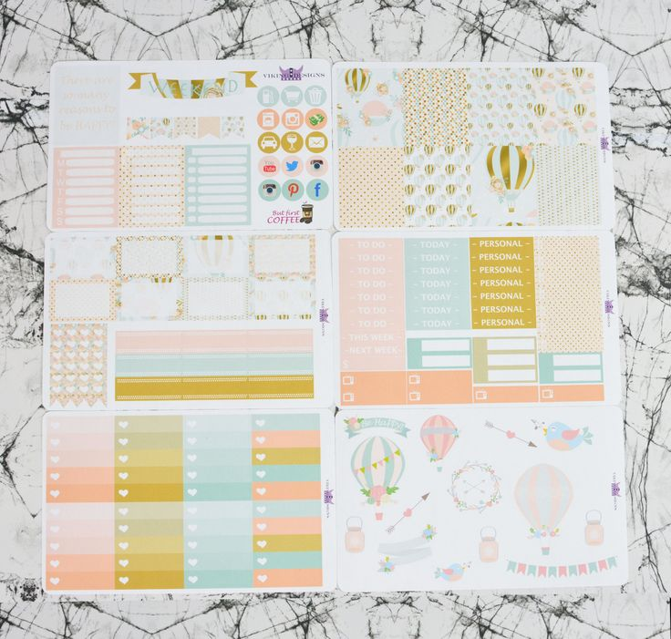 Hot Air Balloon Weekly Layout, Planner Stickers, Erin Condren Life Planner, Weekly Kit by VikingDesigns1 on Etsy