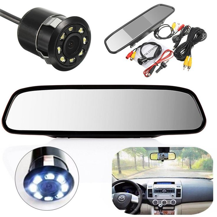 Mayitr New 4.3 inch LCD Car Rear View Mirror Monitor Kit with Reverse Backup Parking Camera Interior Replacement Rearview Mirror