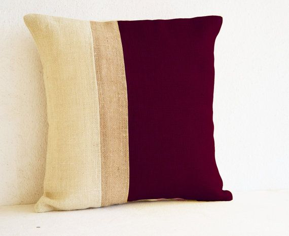 Burgundy Pillow - Burlap Pillow color block - Maroon White Decorative cushion cover- Throw pillow gift 16X16 - Burgundy White Euro Sham on Etsy, $26.00