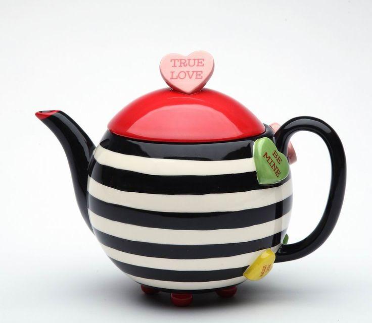 Happy Hearts Ceramic Stripe Teapot