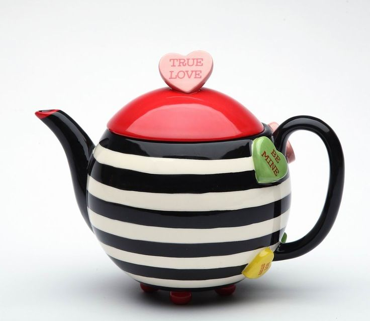 Happy Hearts Ceramic Stripe Teapot