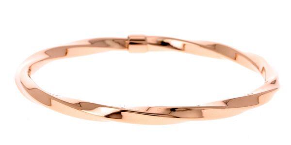 Bracelet torsadé en acier rose avec faux fermoir, ne s'ouvre pas, Il s'agit de son design - Matière : Acier - Couleur : Rose - Diamètre : 65 mm - http://www.cemonstyle.com/contents/fr/p102_Bracelet_femme_acier_rose.html