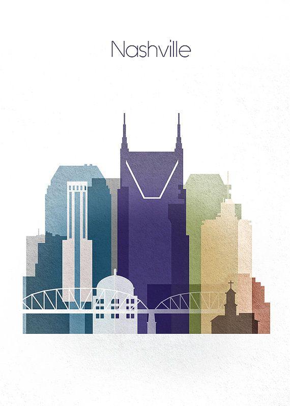 Nashville Skyline, Nashville Tennessee, Cityscape Wall Art Print, Poster Digital Print, Artwork Wall Decor Frame is not included.…