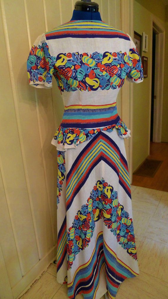 RESERVED---TROPICANA-- Gorgeous 1930s Full Length Dress with Chevron and Fruit Print--S on Etsy, Sold