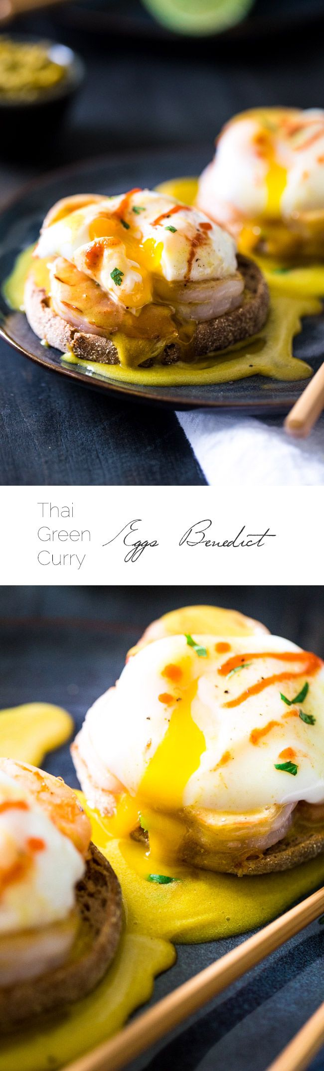 Thai Green Curry Eggs Benedict - A quick and easy, Thai twist on the classic Eggs Benedict Recipe that uses Green Curry paste and coconut oil to make a healthy Hollandaise sauce!