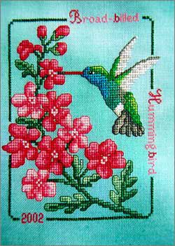 Cross Stitch Craze: Hummingbird with Flowers Cross Stitch Broad Billed Hummingbird with Cherry Blossoms
