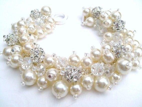 Bridal Jewelry, Wedding, Pearl Bridesmaid Bracelet, Pearl and Rhinestone Bracelet, Cluster Bracelet, Pearl Bracelet, Ivory Pearl Jewelry on Etsy, $27.27 CAD