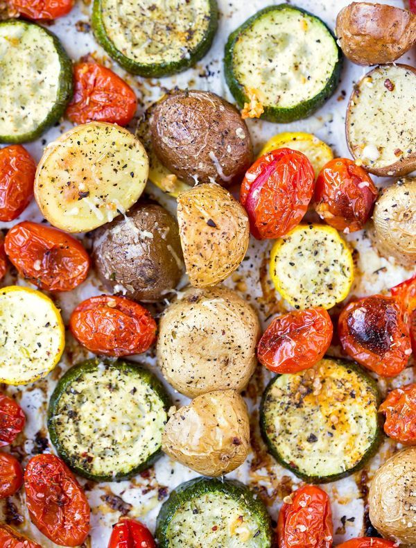 Perfect dinner side dish - Roasted Summer Vegetables - easy, healthy recipe made with seasonal vegetables.
