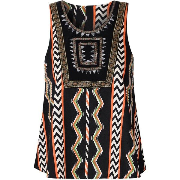 Multicoloured Aztec Print Swing Top ($52) ❤ liked on Polyvore featuring tops, multi, aztec top, colorful tops, scoop neck sleeveless top, beaded top and aztec print top