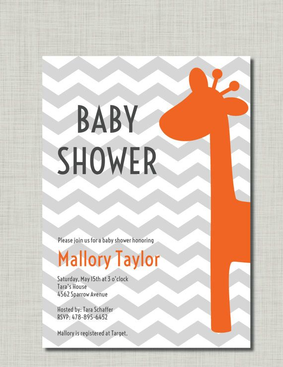 giraffe baby shower invitation orange gray chevron grey gender neutral